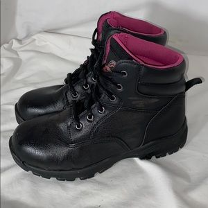 Brahma Boots Black Leather Pink Liner Women's Sz 7